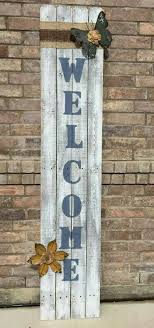4 Panel Welcome Sign Painted With Decoritve Burlap An Metal Butterfly Flower Wooden Signs Wood Signs Painted Signs