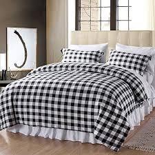 white plaid king size comforter set