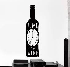 Wall Vinyl Decal Kitchen Quote Time To Drink Wine Home Restaurant Home Wallstickers4you