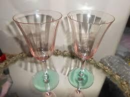 depression wine glass ribbed stemware