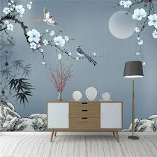 3d Bamboo Leaves Plum Blossoms Wall Mural Gallery Wallrus Free Worldwide Shipping