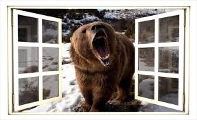 3d Window Wall Sticker Decal Brown Bear In Snow Nature Etsy