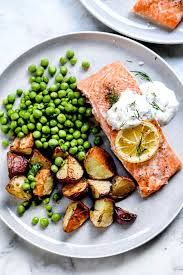 oven baked salmon with creme fraiche