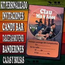 Kit Imprimible Gta V 5 Cumpleanos Bautismos Candybar
