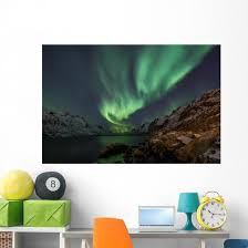 Incredible Aurora Borealis Over Night Sky In Arctic Wall Decal Wallmonkeys Com