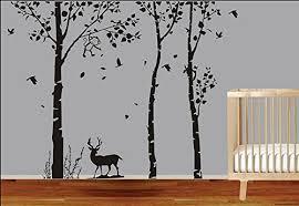Sale 3 Pcs Large Tree With Deer Animals Wall Stickers Kids Room Nursery Decorative Art Decal Vinyl 80 H X 98w Black Tree O Deals Salefans601