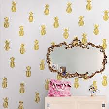 Wallpops Pineapples 80 Piece Vinyl Wall Decal Set In Metallic Gold Bed Bath Beyond