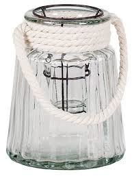 ribbed glass with white rope handle