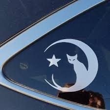 Black Cat On The Moon Vinyl Car Laptop Or Yeti Decal