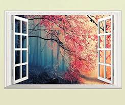 Amazon Com Home Find Removable Fake Window Scene 3d Faux Windows View Walls Decals View Peaceful Woods Trees Stickers Self Adhesive Vinyl Decor For Living Room Bedroom Nursery 23 Inches X 15 Inches