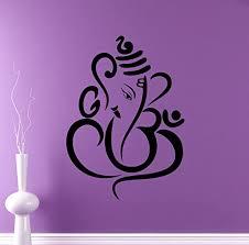 Amazon Com Hindu God Ganesha Wall Decal Elephant Vinyl Sticker Hinduism Home Interior Yoga Living Room Decor Door Stickers Om Housewares Asia India Indian Design Bedroom Custom Decals 1 Gns Kitchen Dining