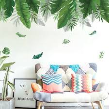 summer green leaf wall sticker