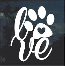 Love Dog Paw Window Decal Sticker Custom Sticker Shop