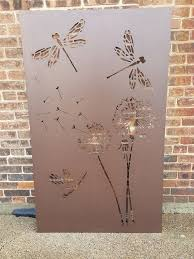 Dragonfly Dandelion Metal Privacy Screen Decorative Panel Etsy Metal Garden Screens Fence Art Decorative Panels