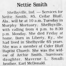 Obituary for Nettie Smith (Aged 85) - Newspapers.com