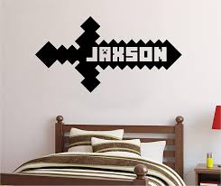 Amazon Com Personalized Custom Video Gamer Sword Name Wall Decal Sticker Customized Sign Monogram Stencil Choose Size Color Handmade