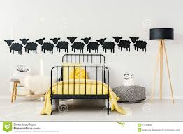 Yellow And Black Kid S Bedroom Stock Image Image Of Frame Home 111408659