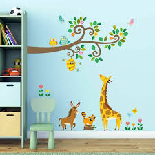 Kids Animals Jungle Wall Stickers Decowall Dw 1206 Wild Decals Peel Decor For Sale Online Ebay