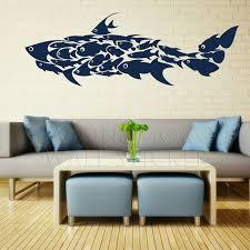 Aliexpress Com Buy Large Shark Little Fish Decals Interior Wall Stickers Mural Wallpaper Art Children S Kid Fish Wall Art Picture Wall Bedroom Decal Wall Art