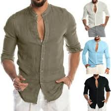 men cotton linen shirt loose tops long