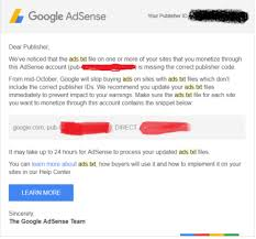 google adsense ads txt file warning