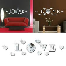 Diy 3d Love Wall Clock Crystal Mirror Living Room Stickers Home Decal Art Decor For Sale Online Ebay