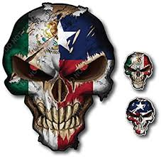 Amazon Com 3 Pack Texas Mexico Lone Star State Mexican Skull American Flag Vinyl Decal Stickers Car Truck Sniper Marines Army Navy Military Graphic 5 X 7 Automotive