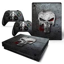 Punisher Skull Style Skin Sticker For Xbox One X Console With Two Cont