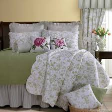 brighton green toile quilt bedding by