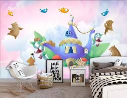 Customized Large 3d Mural Wallpaper Watercolor Aladdin Castle Bear Bird Children S Room Background Wall Fabric Textile Wallcoverings Aliexpress