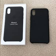 apple iphone x black leather case