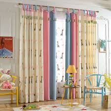 Zrcortinas Cartoon Deer Pattern Cloth Curtain For Kids Bedroom Yellow Pink Blue Splicing Curtain For Modern Living Room Curtains Aliexpress
