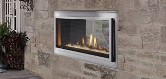 mezzanine see through gas fireplace