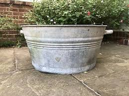 vintage large galvanised steel tin tub
