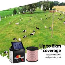 8km 0 3j Solar Electric Fence Energiser With Bonus Charger 400m Poly T