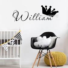 King Queen Crown Wall Sticker Custom Any Kids Name Decals Custom Name Vinyl Nursery Kids Room Home Decor Wallpaper Poster Eb472 Wall Stickers Aliexpress