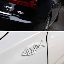 2pcs Jesus Fish Decal Sticker Silver 3d Car Chrome Decal Emb