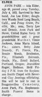 Elder, Ada Jackson - Obituary 1972 - Newspapers.com