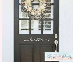 Hello Door Decal Script Style Front Door Vinyl Decal Front Door Decal Hello Door Decal Door Decals