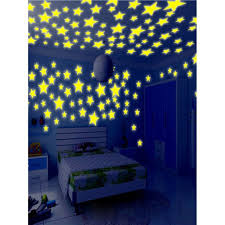 100pc Kids Bedroom Fluorescent Glow In The Dark Stars Wall Stickers Walmart Com Walmart Com