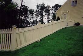Racking Picket Fence On Slope Sloped Yard Front Yards Diy Sloped Front Yard