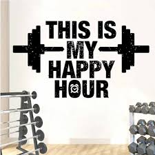 This Is My Happy Hour Gym Quotes Wall Sticker Vinyl Decoration Room Fitness Club Decals Removable Bodybuilding Mural A470 Wall Stickers Aliexpress