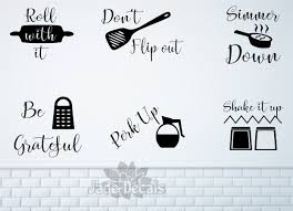 Kitchen Wall Decals Kitchen Utensil Art Roll With It Don T Flip Out Simmer Down Be Grateful Perk Up Shake It Up