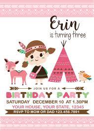 Little India Y Bosque Amigos Cumpleanos Invitacion Etsy