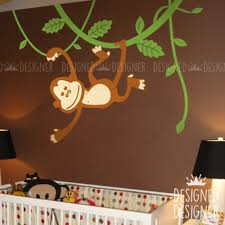 Monkey Hanging Down On Vines Removable Wall Decal Animal Sticker Designeddesigner On Artfire