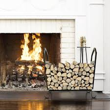 holder wrought iron indoor fire wood