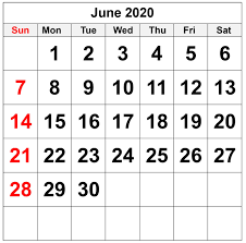 Blank June 2020 Calendar For Word ...