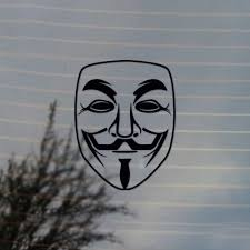 Guy Fawkes Anonymous Mask Activism Vinyl Decal Sticker For Car Laptop Tablets Etc