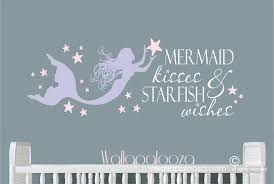 Mermaid Kisses And Starfish Wishes Wall Decal Mermaid Wall Decal Beach Wall Decor With Images Beach Wall Decals Mermaid Wall Decals Mermaid Decal