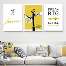 Bright White And Yellow Dream Big Little One Nordic Nursery Wall Art Nordicwallart Com